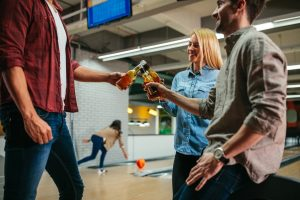 Office party at a bowling alley venue in the Maywood, Illinois area